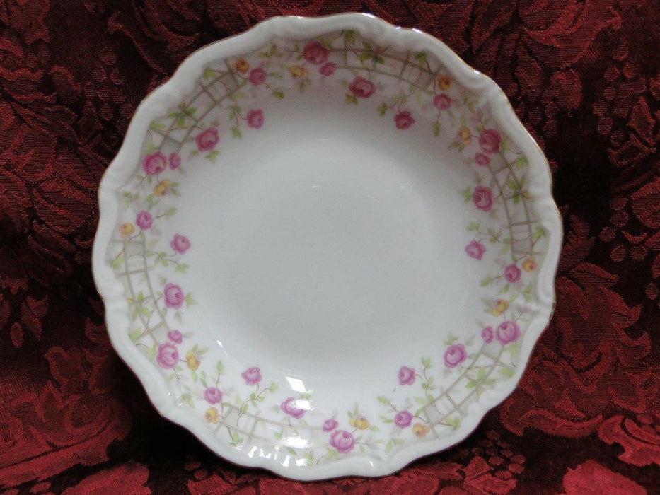 Amcrest Bavaria, Country Garden, Pink /Yellow Roses, Gold: Fruit Bowl 5""