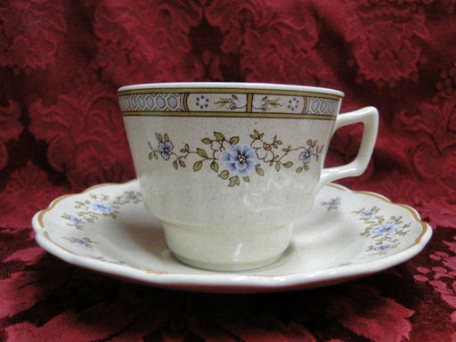 Royal Doulton Dorset, Blue Flowers, Tan Leaves & Trim: Cup & Saucer Set (s)