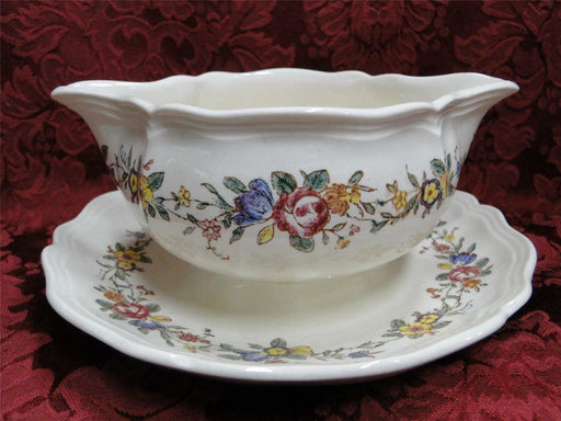 Royal Doulton Leighton, Flowers, Pink Ribbon: Gravy Boat w/ Attached Plate