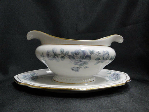 Royal Tettau Damask Rose, Blue / Green Roses: Gravy Boat w/ Attached Underplate