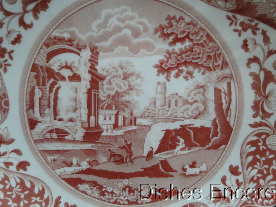 "Spode Italian, Cranberry / Red Scene: NEW Footed Cake Plate, 10 5/8"", Box"