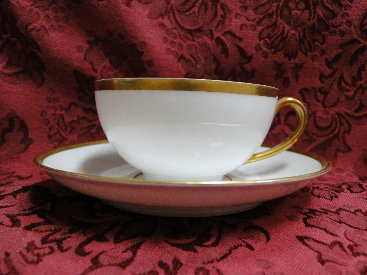 Tirschenreuth Colonial, White w/ Smooth Gold Band: Cup & Saucer Set (s), 2""