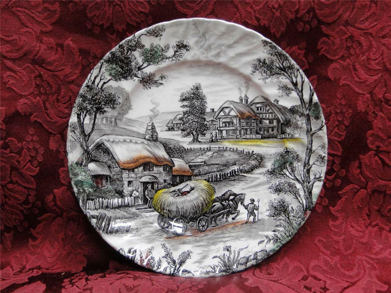 Staffordshire Yorkshire: Brown Scene, Multicolored: Salad Plate (s), 7 7/8""