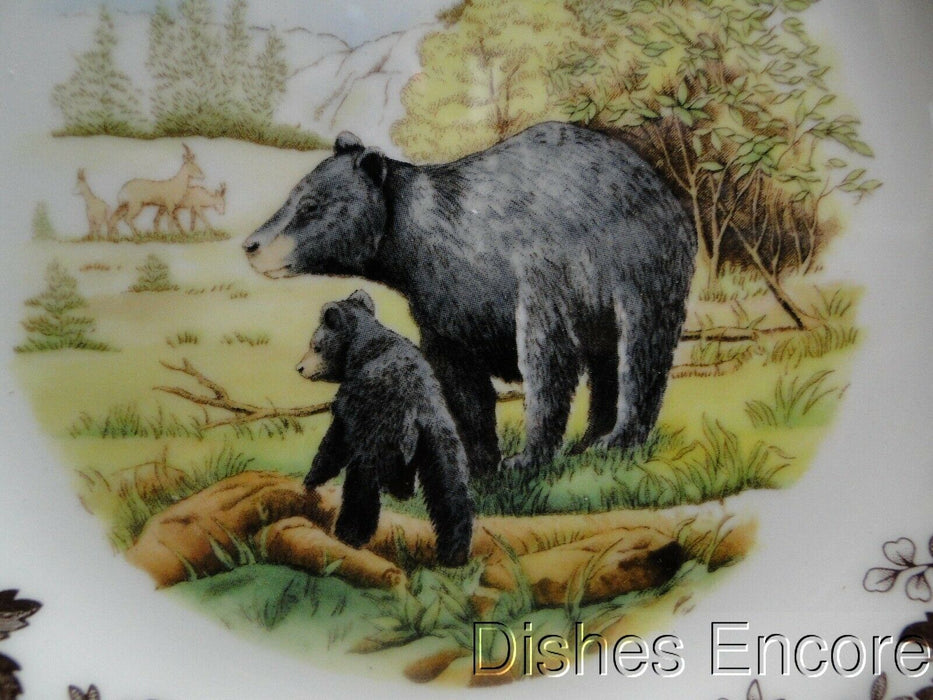 "Spode Woodland Black Bear, England: NEW Salad Plate (s), 7 3/4"", Box"