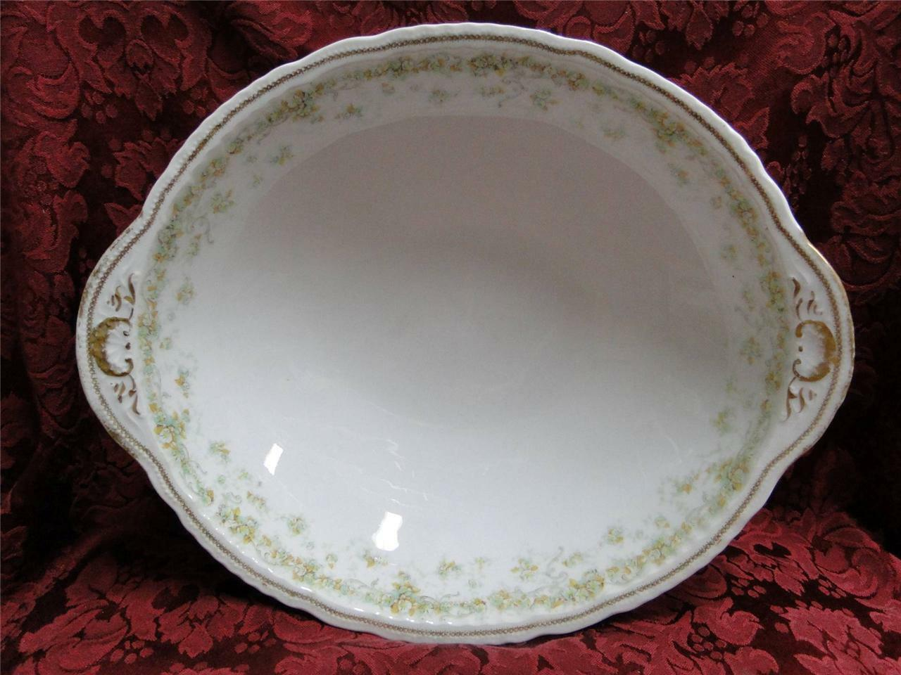 Haviland (Limoges) Green & Tan Floral Garland, Blank 123: Round Vegetable Bowl
