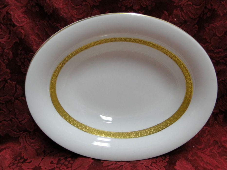 Wedgwood Adelphi, White w/ Gold Encrusted Verge: Oval Serving Bowl, 9 7/8""