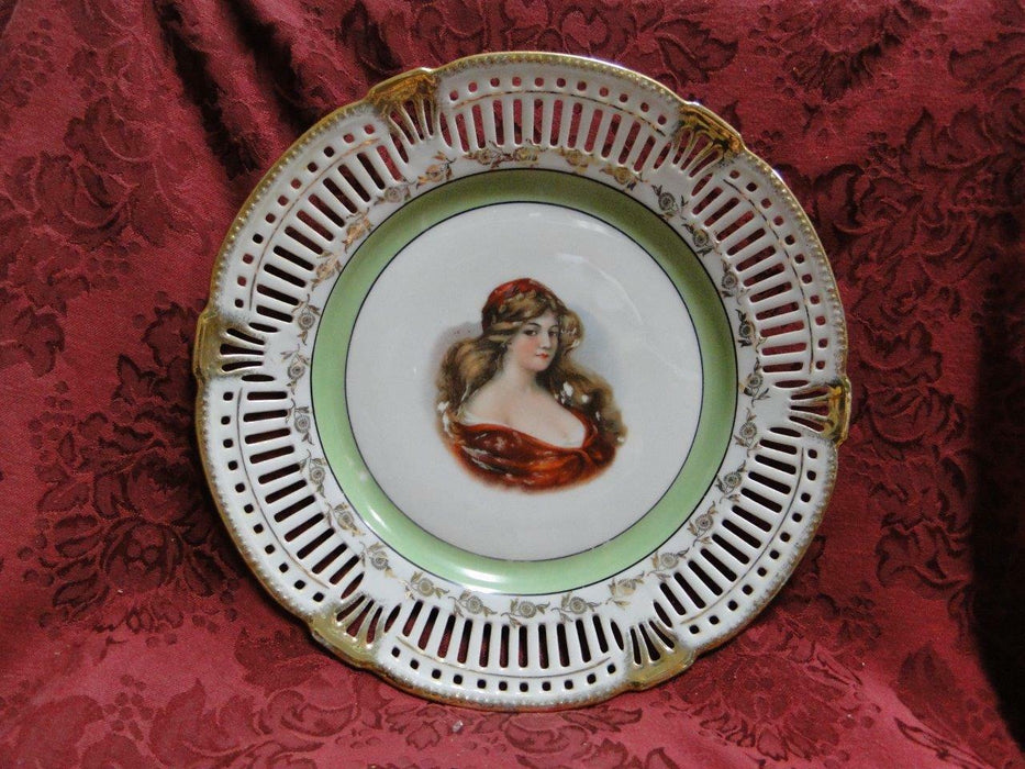 White Reticulated Plate w/ Gold Flowers & Trim, Green Band, Lady in Center 10.5""