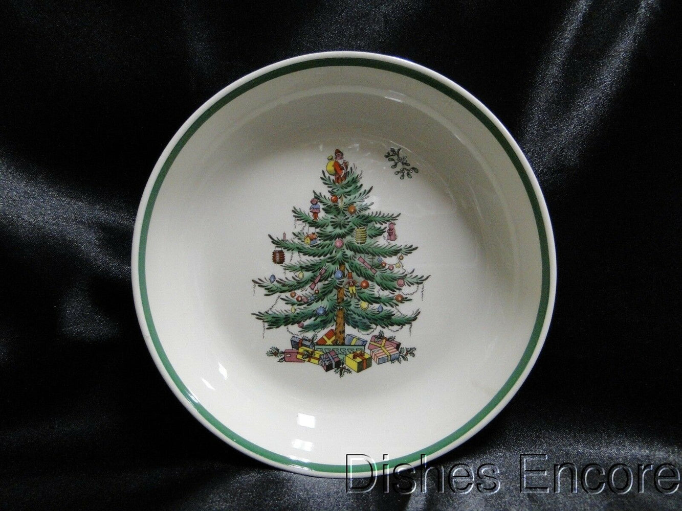 "Spode Christmas Tree, Green Trim, England: All Purpose Bowl, 6 3/4"", As Is"