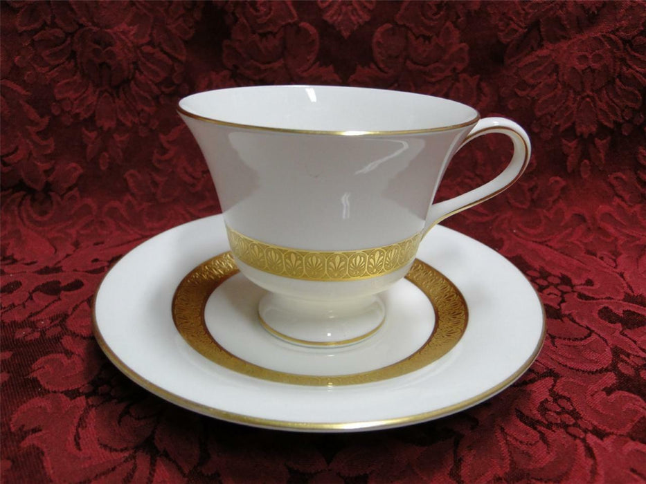 Wedgwood Adelphi, White w/ Gold Encrusted Verge: Cup & Saucer Set (s)