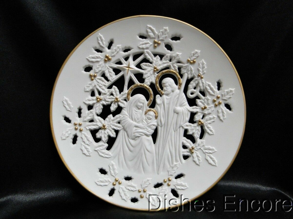Lenox Nativity Plate, 1993 Holy Family, Pierced, White with Gold 8 3/4""