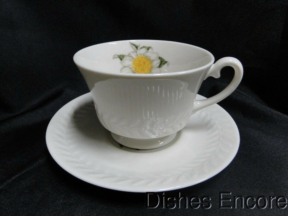 Haviland (New York) Camellia, White Flower w/Yellow,Embossed: Cup & Saucer Set (s)