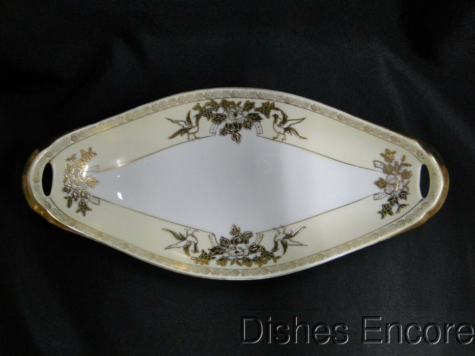 Noritake Cream Band, Gold Birds & Florals: Oval Relish w/ Handles, 12 1/2""