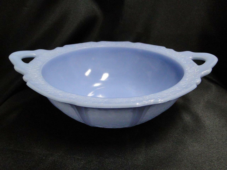 Jeannette Glass Cherry Blossom Blue Delphite:Round Serving Bowl w/ Handles AS IS