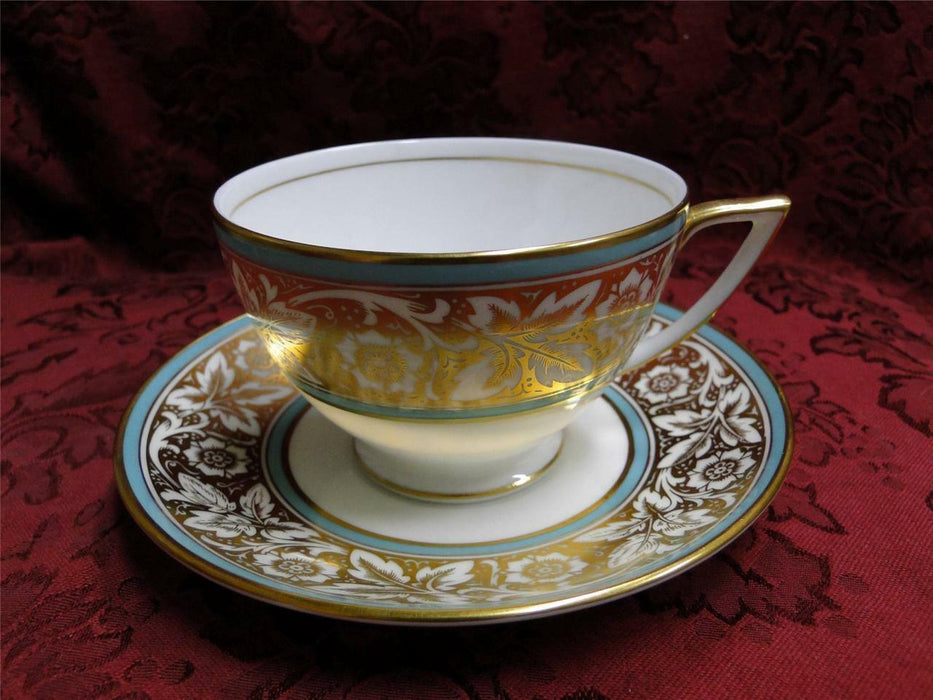 Minton Hanover, Leaves & Flowers on Gold, Turquoise: Cup/Saucer Set (s)