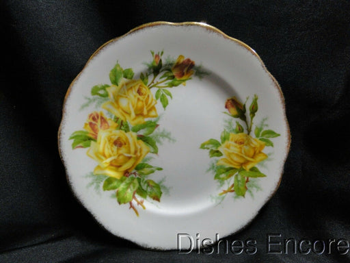 "Royal Albert Tea Rose Yellow, Scalloped, Gold Trim: Bread Plate, 6 3/8"", As Is"