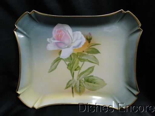 "Hutschenreuther Hand Painted Pink Rose on Green Background: Tray 12 1/4"" x 10"""