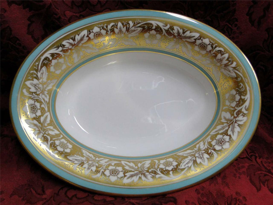 Minton Hanover Flowers on Gold with Turquoise Trim: Oval Vegetable Serving Bowl