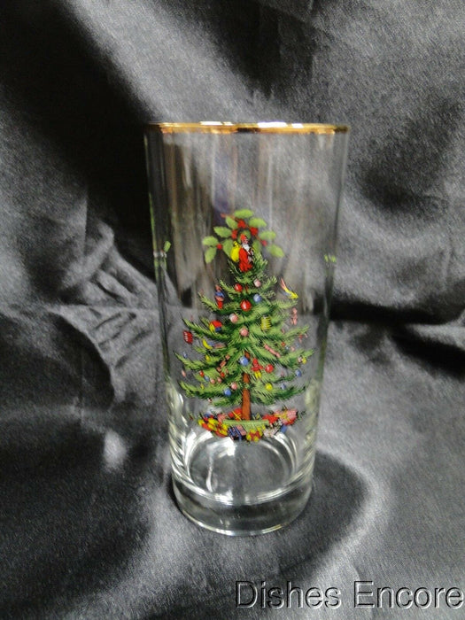 "Spode Christmas Tree, Clear w/ Gold Trim: Highball / Tumbler (s), 6 1/4"", 12 oz"