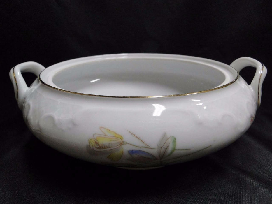 Eschenbach White with Pink and Yellow Flowers ESC302: Round Bowl, No Lid 9 3/4""