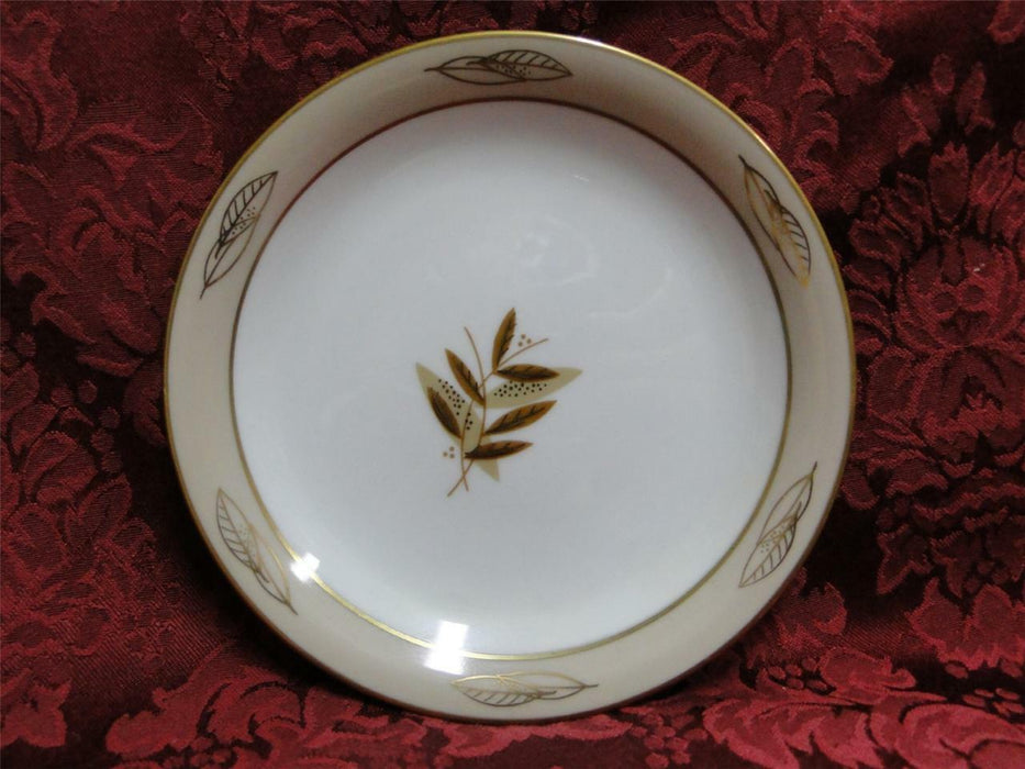 Noritake Fontana, 5580, Taupe Band, Gold Leaves: Bread Plate (s), 6 1/8""