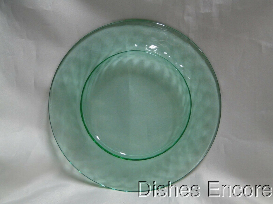 "Vaseline Glass, Green, Diamond Optic: Salad Plate (s), 7 3/8"", As Is, CR#035"