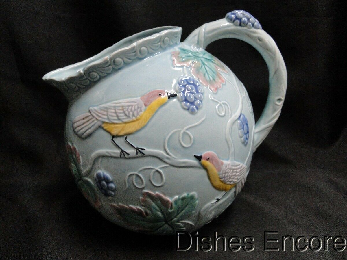 "The Haldon Group, Japan, Birds and Grapes: Round Pitcher 7 1/4"", 2 quarts"