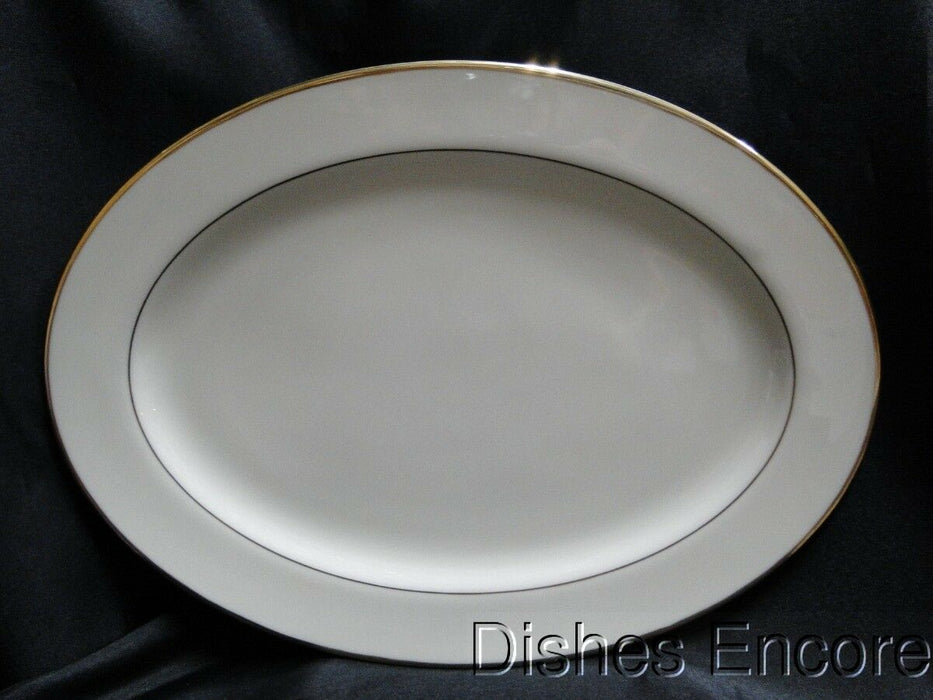 "Lenox Mansfield, Ivory with Gold Trim: Oval Serving Platter 13 1/2"" x 10"""