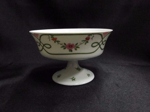 Raynaud Ceralene Guirlandes, Green Line, Flowers: Footed Dessert Bowl (s) 4 1/4""