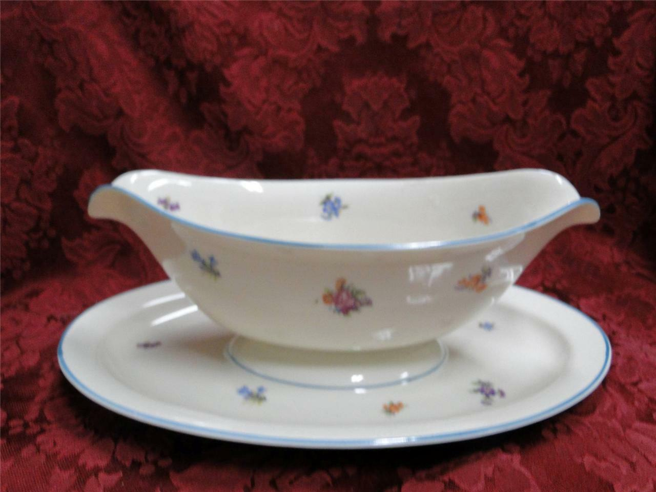 Edgerton Lorraine E220 floral, turquoise trim: Gravy with Attached Underplate