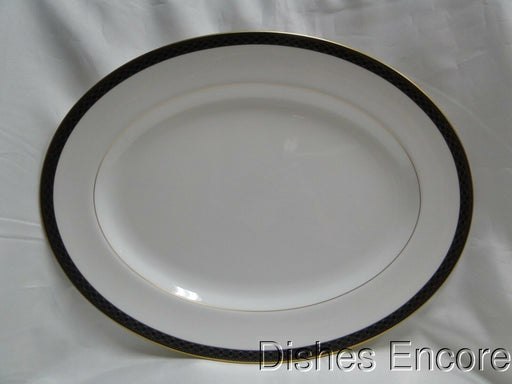 Waterford Powerscourt, White w/ Blue & Gold Border: Oval Serving Platter 15 1/2""