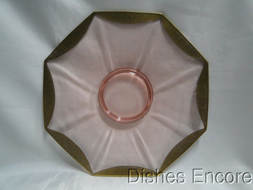 Tiffin Rambler Rose Pink, Encrusted Gold: Octagonal Serving / Cake Plate, 10""