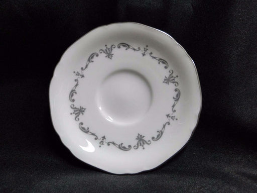 "Royal Worcester Silver Chantilly, Gray Scrolls: 4 5/8"" Demitasse Saucer Only"