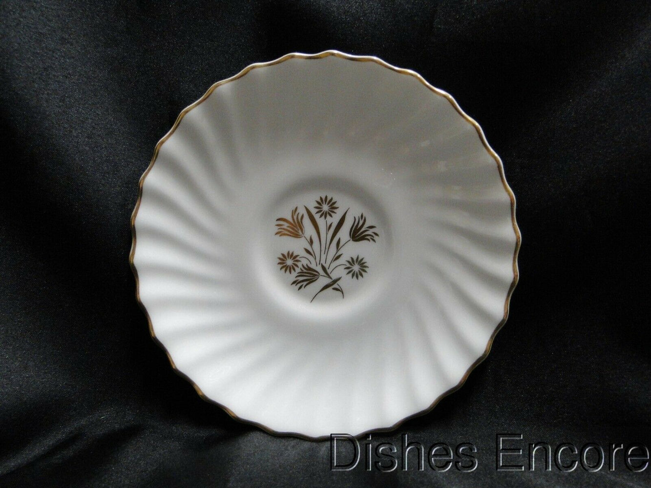 "Royal Doulton Napier, Gold Flowers & Leaves, Swirl Edge: 5 7/8"" Saucer Only"