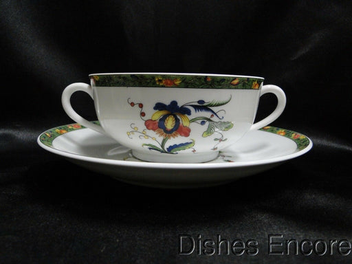 Raynaud Ceralene Louviers, Flowers, Green Band: Cream Soup & Saucer Set (s)