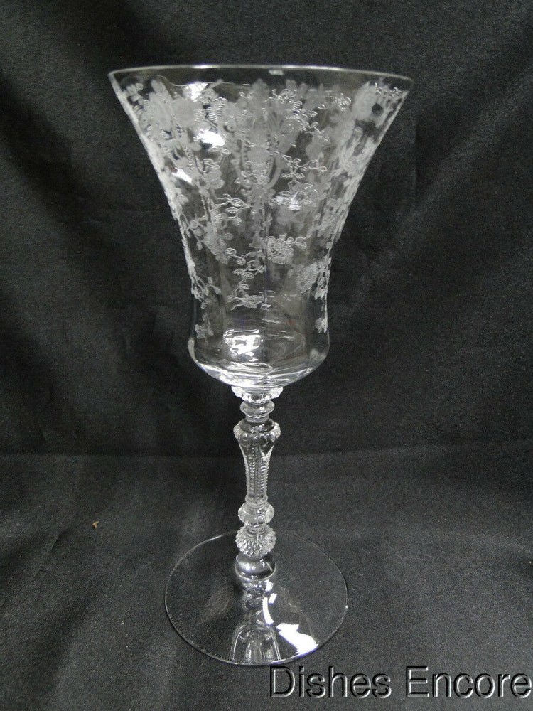 "Cambridge Rose Point Clear Stem 3500: Water Goblet (s) 8 3/8"" AS IS, Chip"