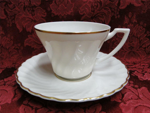 Syracuse Standish, White Swirl, Gold Trim: Cup & Saucer Set (s)