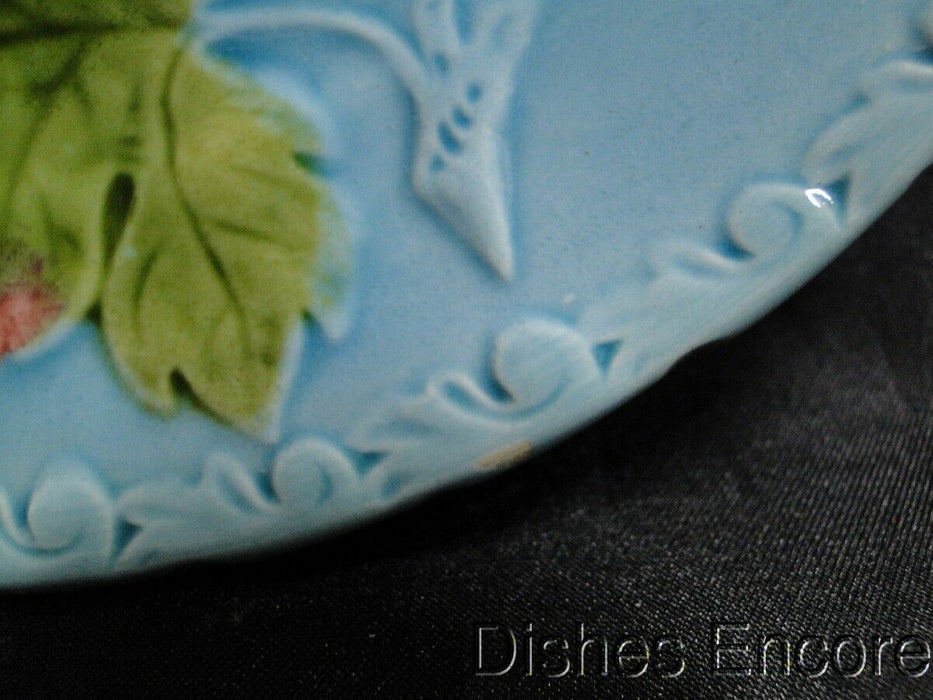 "Germany, Majolica, Birds & Grapes: Salad Plate (s) Blue, 7 5/8"" AS IS"