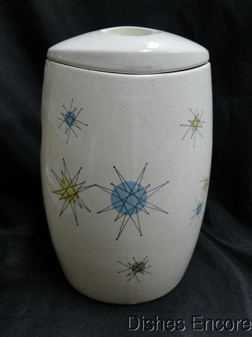 Franciscan Starburst, Aqua,Green,Yellow Stars: Sugar Canister & Lid AS IS 8 1/4""