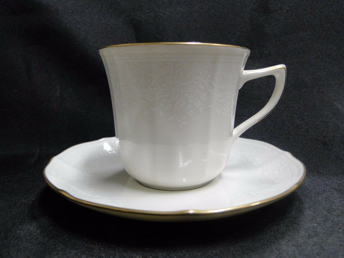 "Noritake Chandon, 7306, White Floral on Ivory: Cup & Saucer Set (s), 3"" Tall"