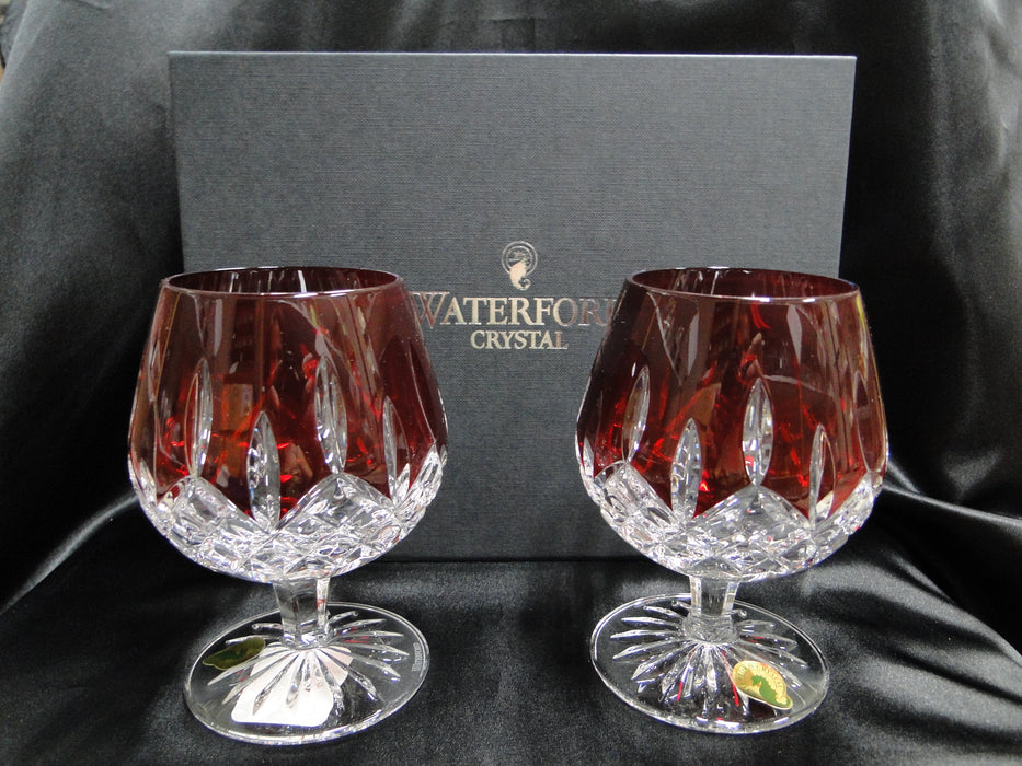 "Waterford Crystal Lismore Ruby Red: NEW Pair Balloon Brandy,  5 1/8"", 12 oz, Box, FREE SHIP, FREE WRAP"