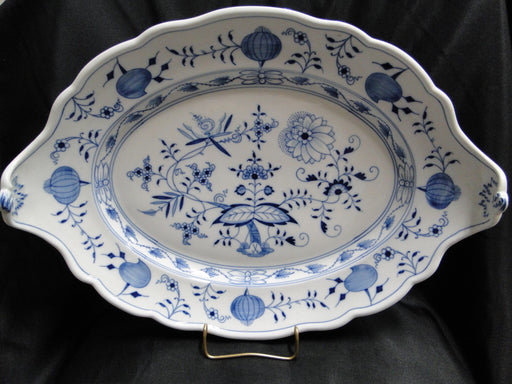 "Meissen Blue Onion, ""X"" Backstamp: Handled Tray 16 1/2"", Curved Ends"