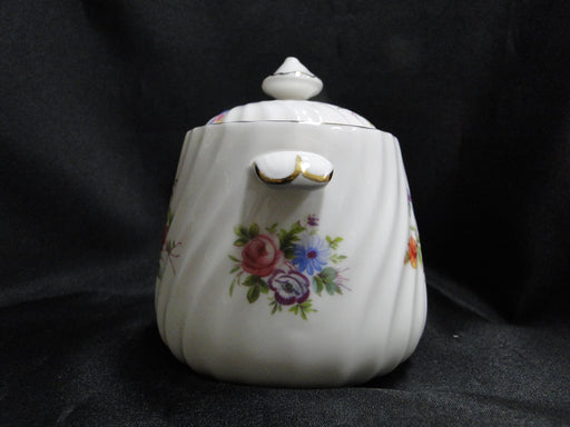 "Minton Marlow, Florals on White: Sugar Bowl & Lid, 4 1/2"" Tall"