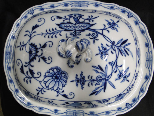 "Meissen Blue Onion, ""X"" Backstamp: Rectangular Covered Serving Bowl 13"""