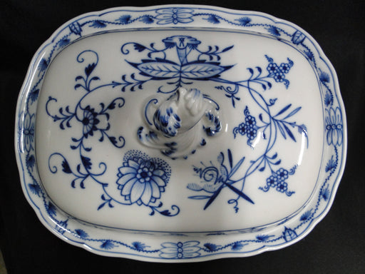 "Meissen Blue Onion, ""X"" Backstamp: Rectangular Covered Serving Bowl 11 1/2"""