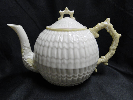 "Belleek, Ireland, Limpet Yellow: Teapot with Lid 5 1/4"", 6 cup"