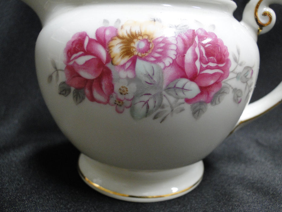 "Ucagco Rose Dawn, Pink Roses, Gray Leaves: Creamer / Cream Pitcher, 3 3/4"" Tall"