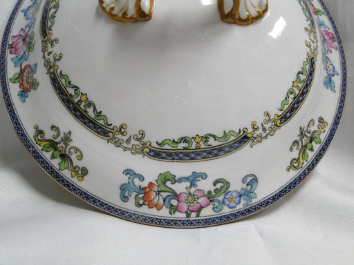 Minton B898, Smooth Edge, Blue Bands, Floral: Lid Only for Serving Bowl
