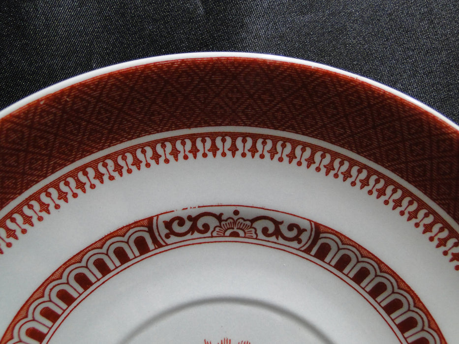 "Spode Heritage Red, Eagle, New Stone: 7"" Cream Soup Saucer Only, No Bowl, Faded"
