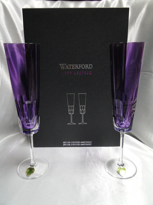 "Waterford Crystal Icon Amethyst, Jeff Leatham: NEW Pair Champagne Flutes, 9 3/4"", Box FREE SHIP, FREE WRAP"