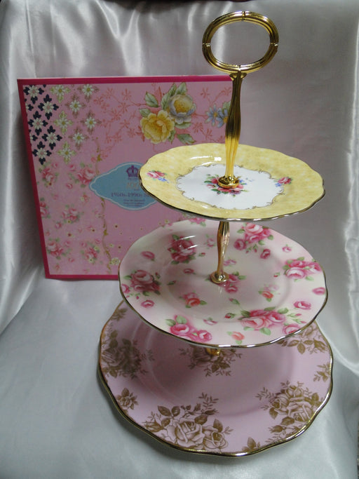 Royal Albert 100 Years, Bouquet, Rose Blush, Golden Roses: NEW 3-Tier Tray / Cake Stand (s), Box
